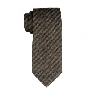 Tinted Brown And Green Striped 100% Wool Necktie
