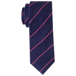 Blue with Pink Stripes Slim Handmade 100% Wool Necktie