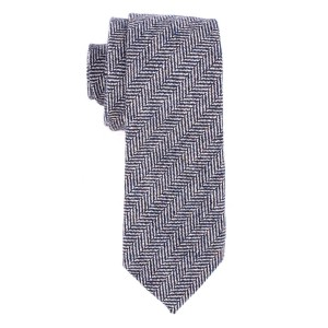 Ridge Herringbone Grey 100% Wool Necktie