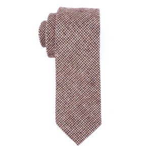 Brown and Beige Plaid Slim Handmade 100% Wool Necktie