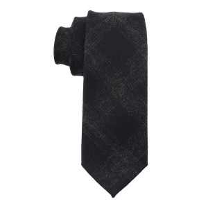 Navy Blue With Grey Self Checks Woolen Necktie