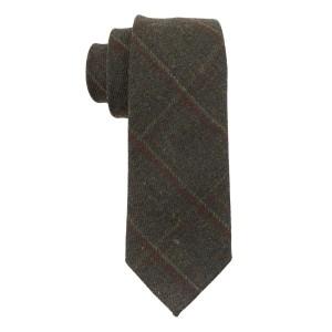 Army Green With Maroon Checks Woolen Necktie