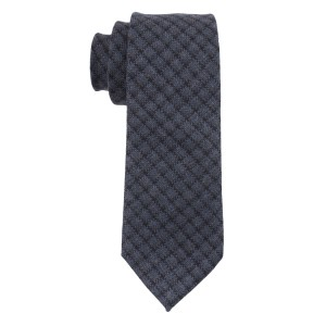 Navy Blue Checks Woolen Necktie