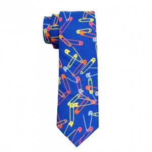 Safety pin blue cotton slim neck tie By The Tie Hub
