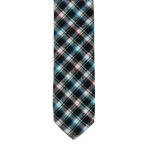 Black/Red/Blue Plaid Reversible Slim 100% Wool Necktie