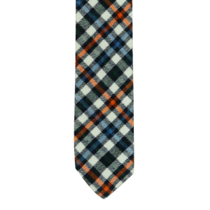 Black/Blue/Orange Plaid Reversible Slim 100% Wool Necktie