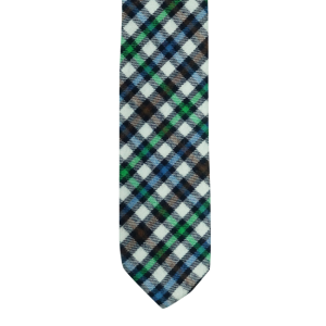 Black/Blue/Green Plaid Reversible Slim 100% Wool Necktie
