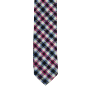 Black/Pink/Purple Plaid Reversible Slim 100% Wool Necktie