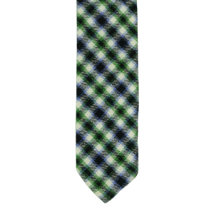 Green/Black/Purple Plaid Reversible Slim 100% Wool Necktie