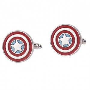 Captain America's iconic round patriotic shield cufflink
