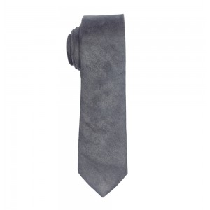 SOLID STEEL GREY SUEDE NECKTIE