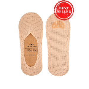Breathable Beige Loafer Socks - Silicon lining