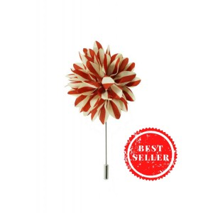 Aster Red and Cream Lapel Pin