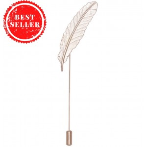 Feather Large Metal Lapel Pin - Silver