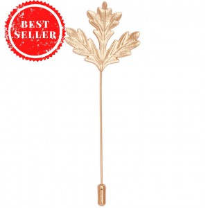 Winter Leaf Metal Lapel Pin - Gold