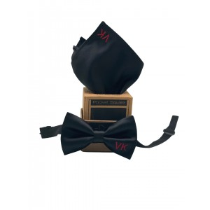 Personalised Black Tuxedo Bow Tie with Black Pocket Square
