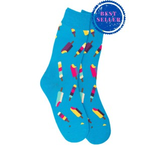 Ice Cream Blue Crew Length Socks