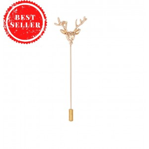 Reindeer Golden metal lapel pin