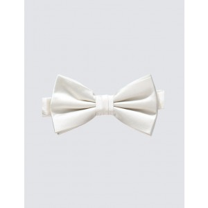 White Poly Silk Bow tie