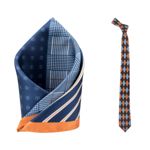 Blue and Orange Plaid Necktie Combo