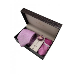 Pink Solid Necktie with lapel Pin and Pocket Square Combo