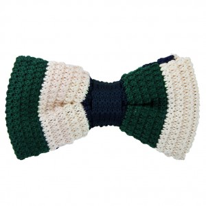 Patina Stripes Green Knitted Bow Tie