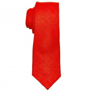 Deboniar Solid Red 100% Pure Linen Neck Tie