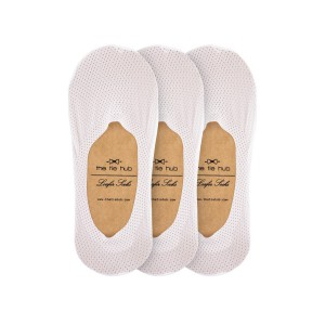 Pack of 3 Breathable White Loafer Socks - Silicon lining