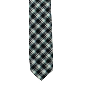 Black and White Plaid Reversible Slim 100% Wool Necktie