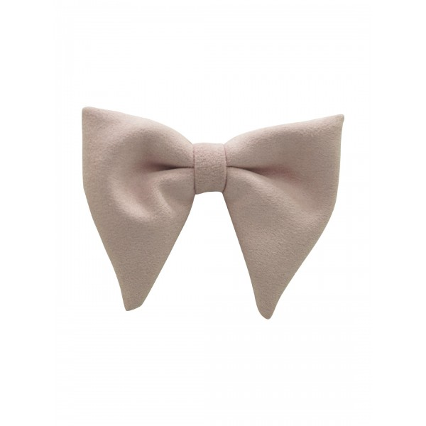 Dull Pink Solid Suede Butterfly Bow tie