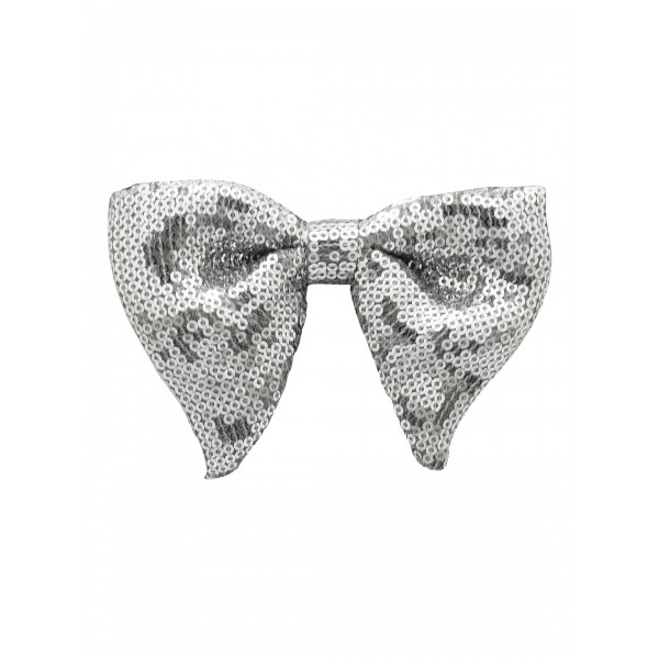 Silver Sequin Butterfly Bow Tie