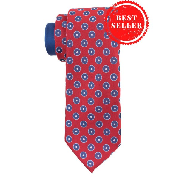 Pulsating Polka Red Silk Necktie
