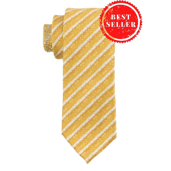 Dotted Peace Yellow Silk Necktie