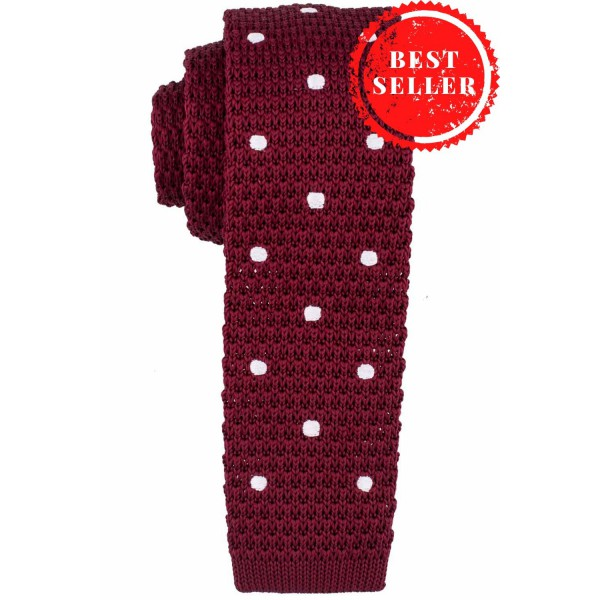 Rosewood Maroon with White Polka Dots Knitted Necktie