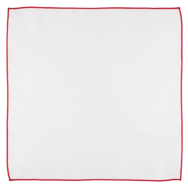 Fountain Solid White Pocket Square With Red Border For Men