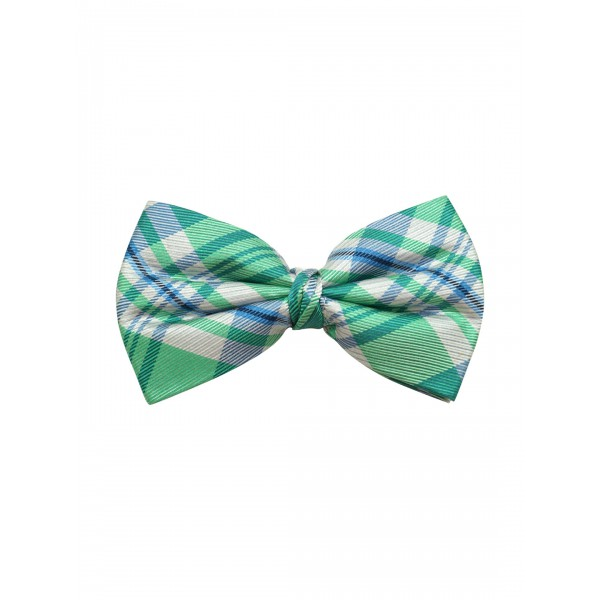 Green and Blue 100% silk Checkered Bow Tie