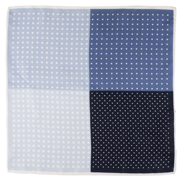 Four Square Polka White and Blue Silk Pocket Square For Men By The Tie Hub