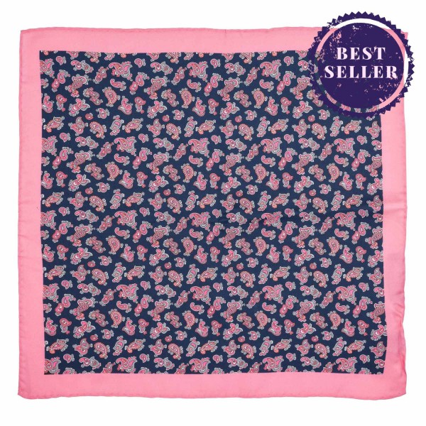 Pink And Blue Paisley 100% Silk Pocket Square