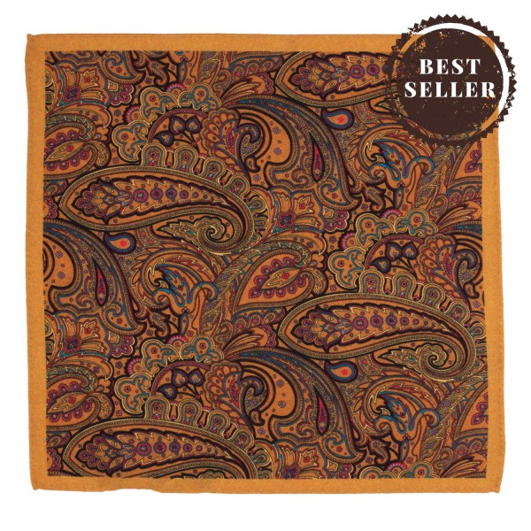 Paisley Printed Chrome 100% Wool Pocket Square