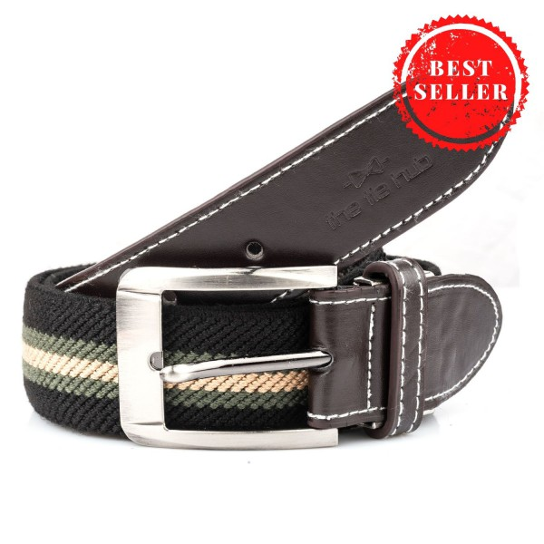 Black And Green Woven Elasticated Belt With Metal Buckle