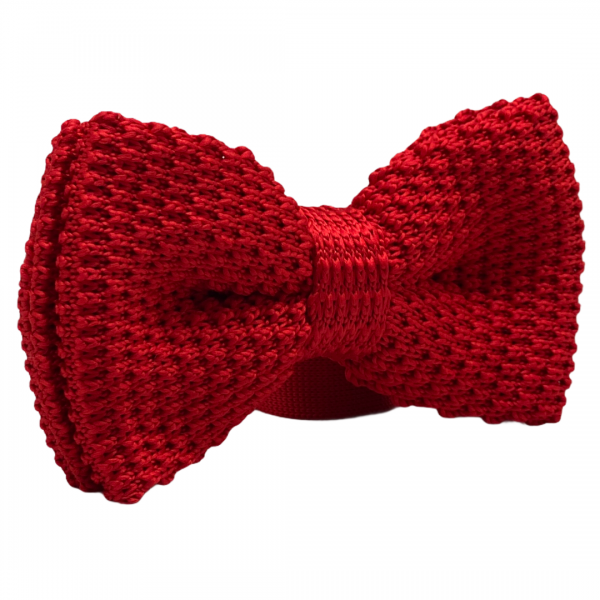 Solid Red Knitted Bowtie for Men