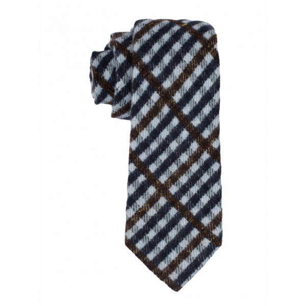 Sky Blue With Navy and Brown Checks 100% Shantung Silk Necktie