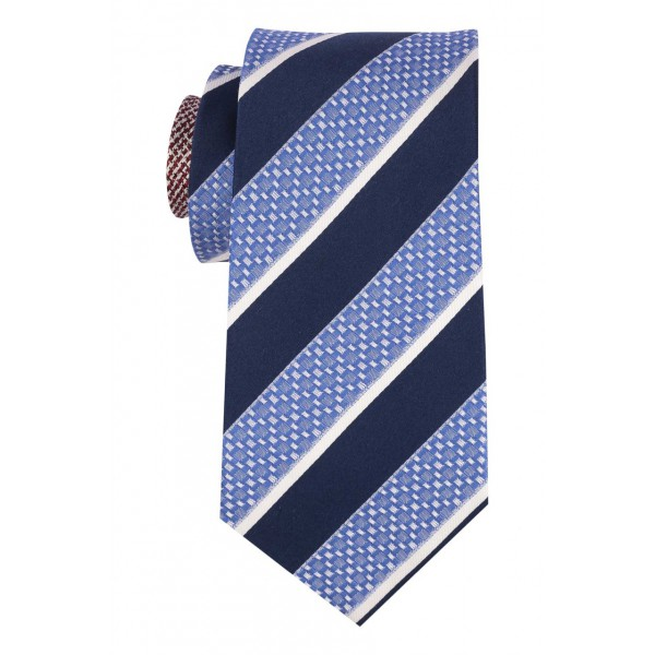 Institute Sky Blue with Navy and White Stripe 100% Silk Necktie