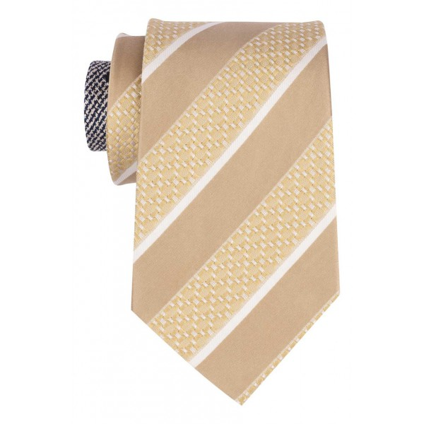 Institute Gold with White Stripe 100% Silk Necktie