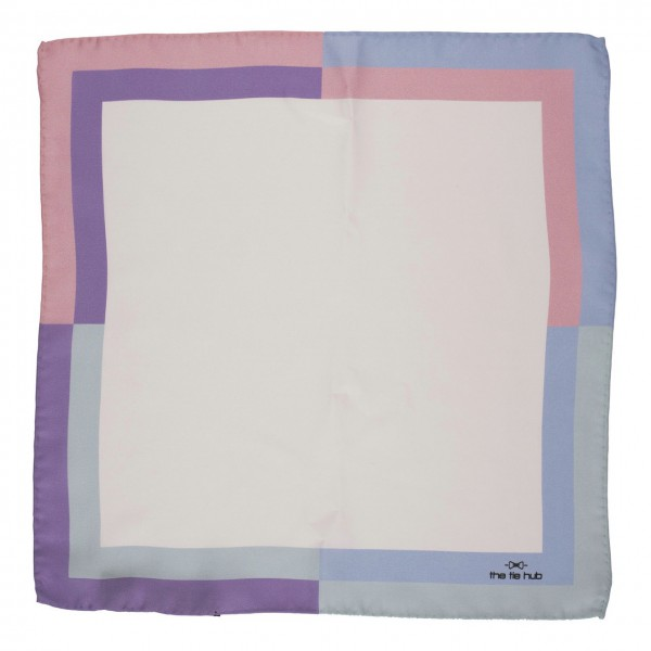 Off White Solid 100% Silk Pocket Square with Pastel Color Border