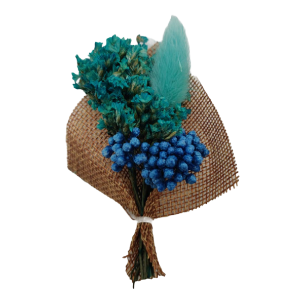 Babys Breath Teal Flower with Blue Feather Wedding Boutonniere