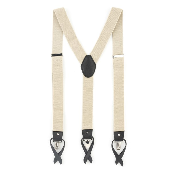 Gentry Cream Black Y Back Button Suspender