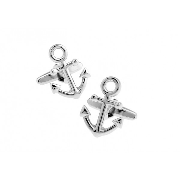 Anchor Silver Without Thread Cufflinks