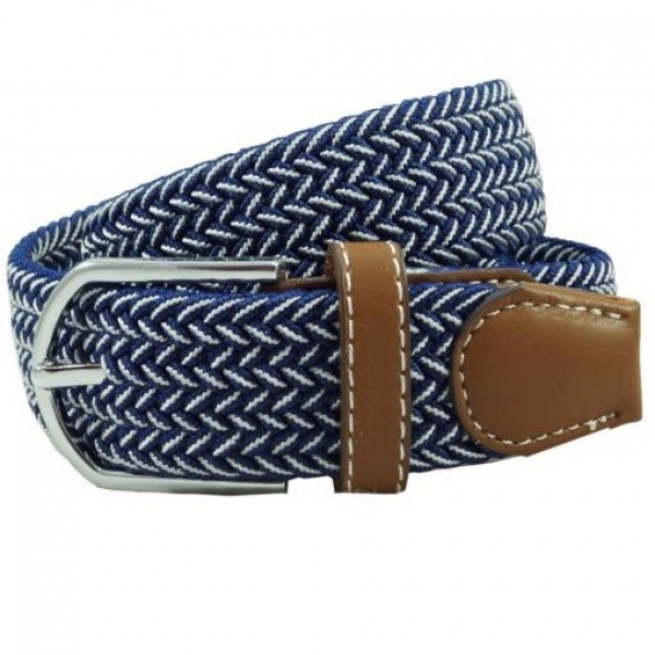 Braid Navy Blue and White Elasticated Belt