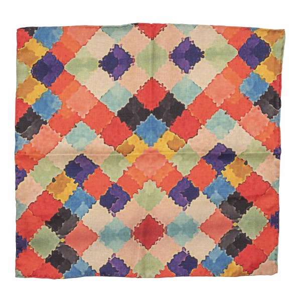 Multicolor square Oil paint print Silk and Cotton Pocket Square